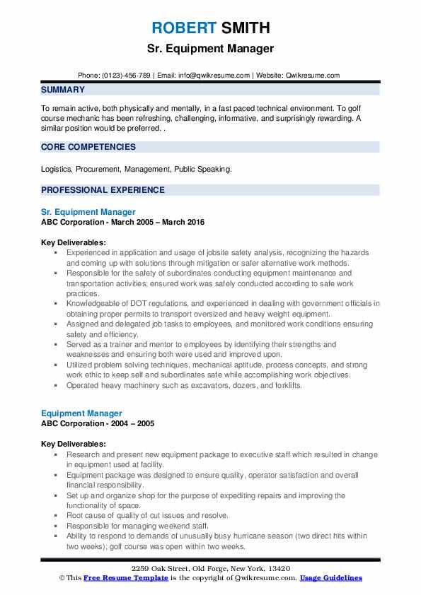 Sr. Equipment Manager Resume Model