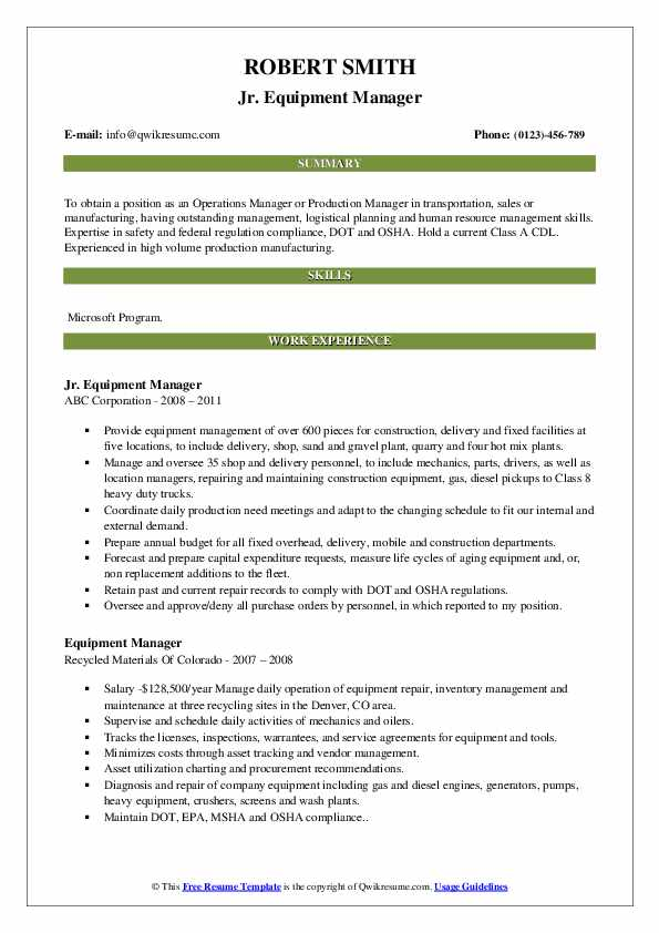 Jr. Equipment Manager Resume Model