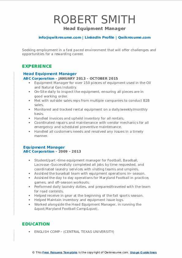 Head Equipment Manager Resume Sample