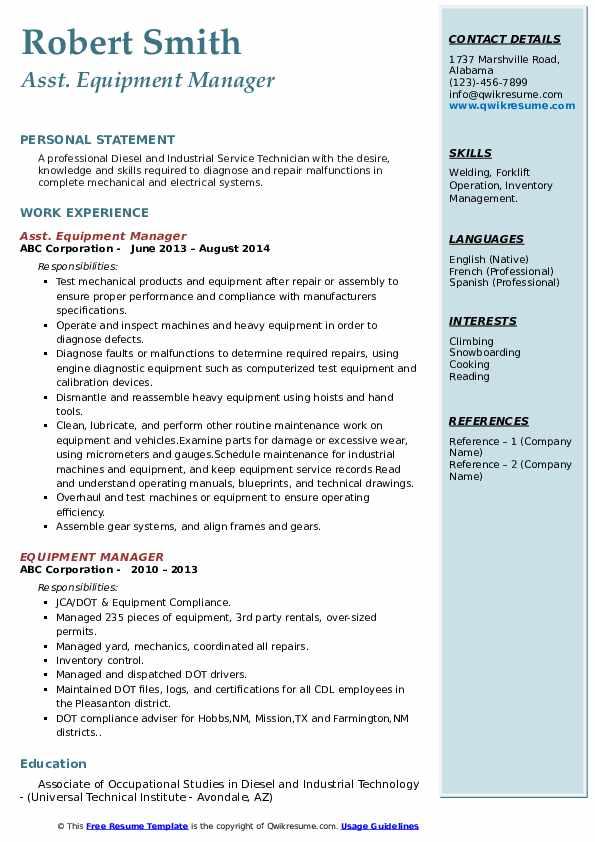 Asst. Equipment Manager Resume Format