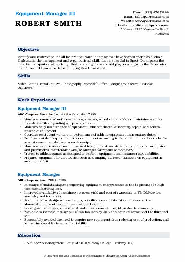 Equipment Manager III Resume Template