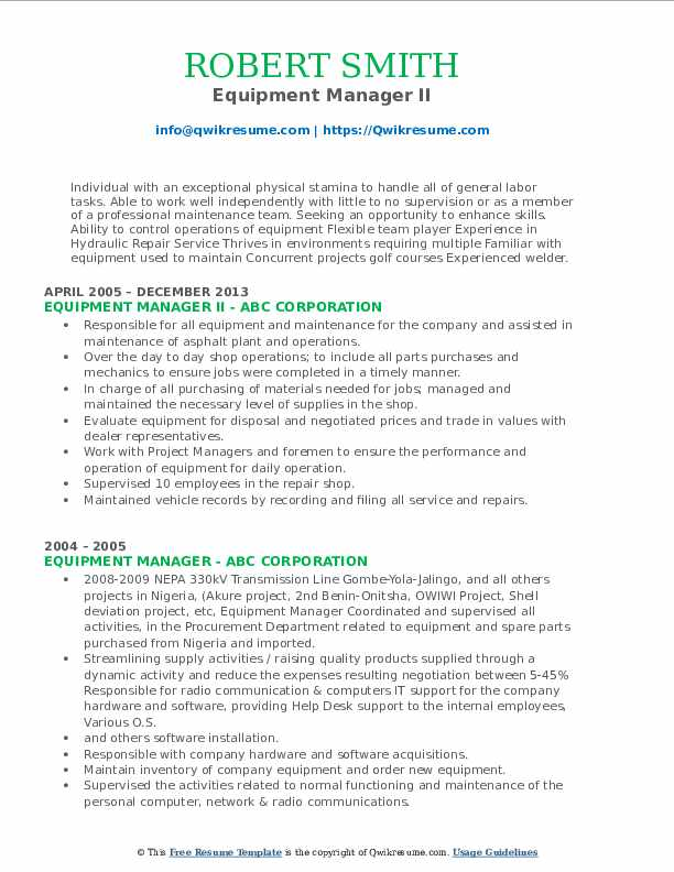 Equipment Manager II Resume Model