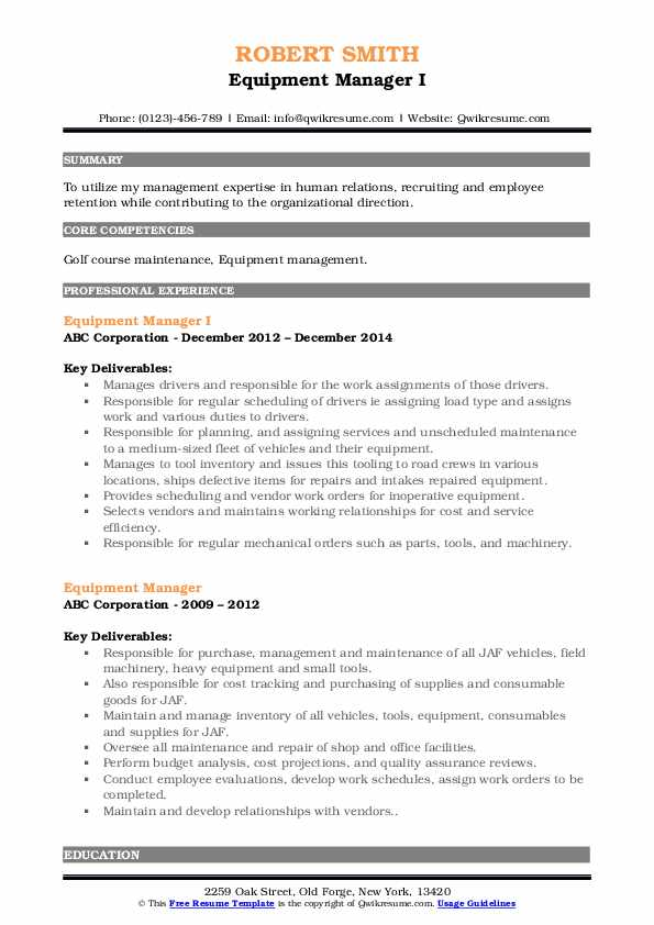 Equipment Manager I Resume Template