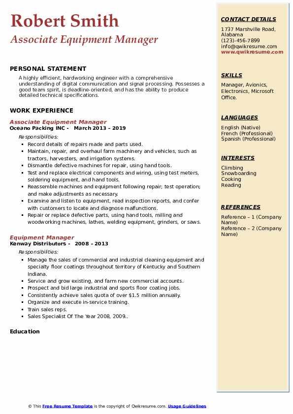 Associate Equipment Manager Resume Format