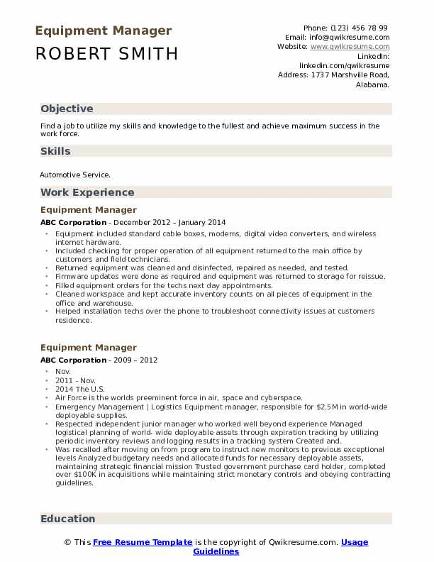 Equipment Manager Resume example