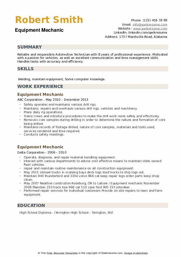 Equipment Mechanic Resume example