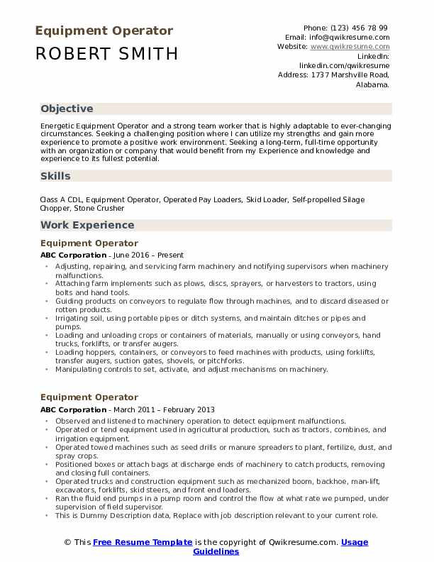 Equipment Operator Resume Model