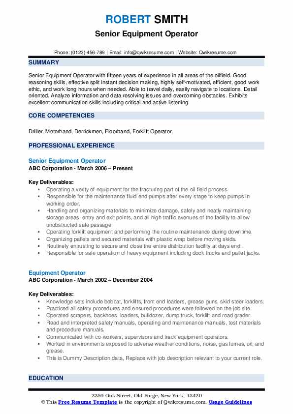 Senior Equipment Operator Resume Sample