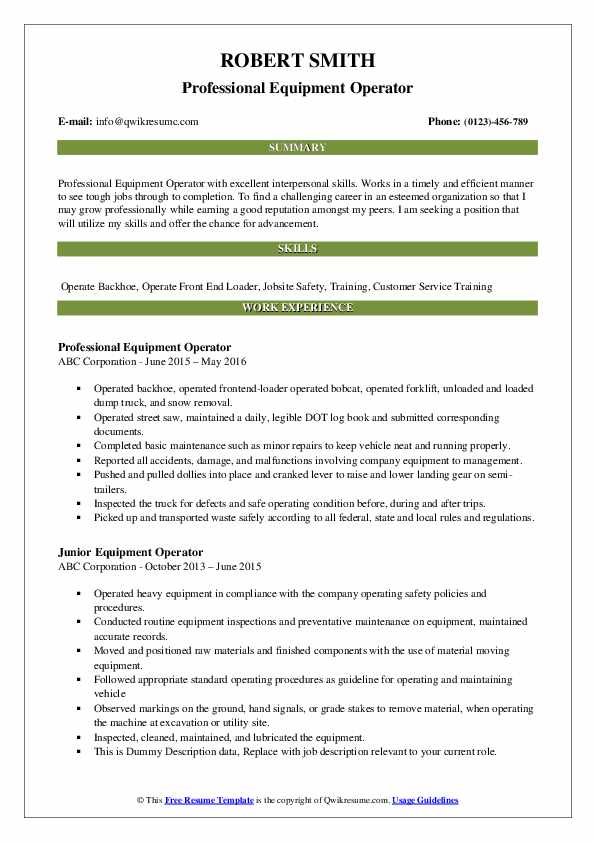 Professional Equipment Operator Resume Template