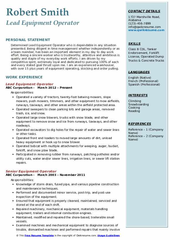 Lead Equipment Operator Resume Format