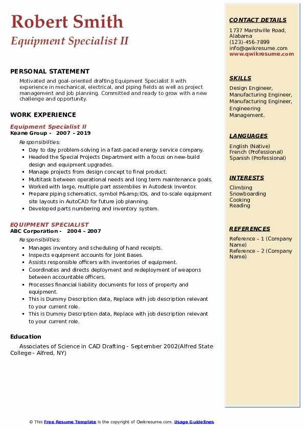Equipment Specialist Resume Samples Qwikresume