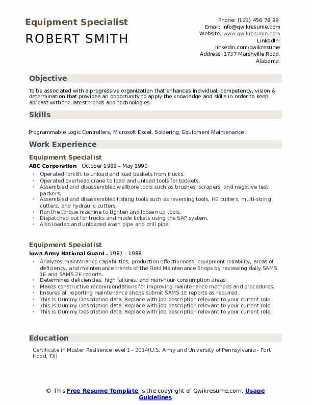 Equipment Specialist Resume example