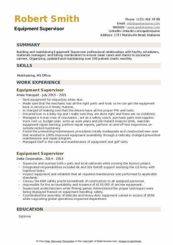 Equipment Supervisor Resume example
