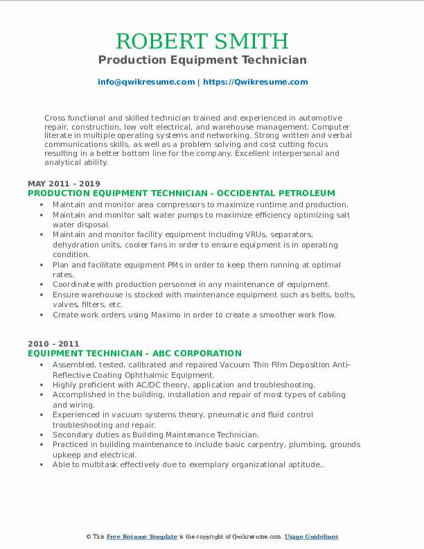 Production Equipment Technician Resume Template