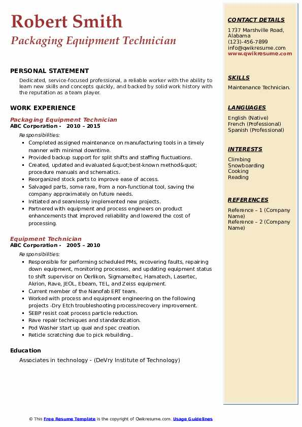 Packaging Equipment Technician Resume Template