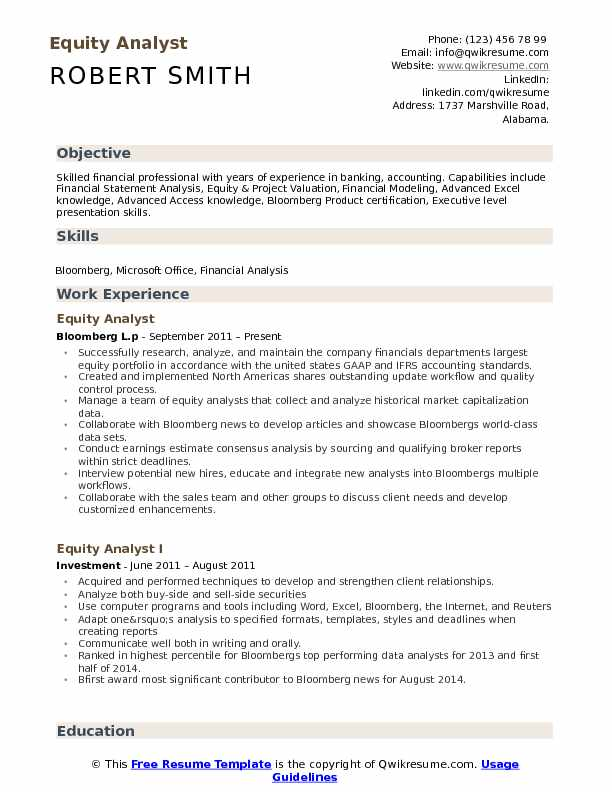 Equity Analyst Resume Sample