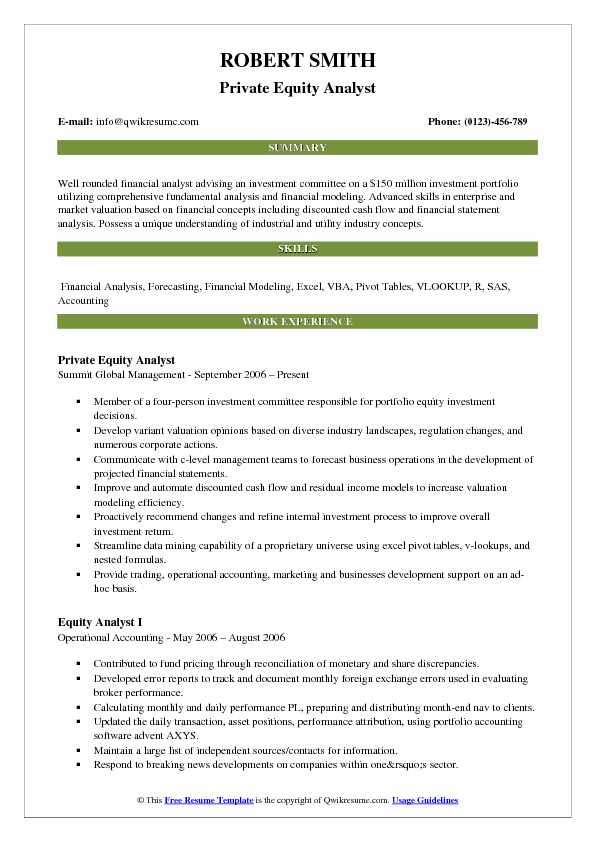 Private Equity Analyst Resume Sample