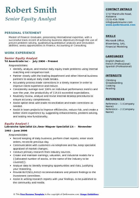 Senior Equity Analyst Resume Template