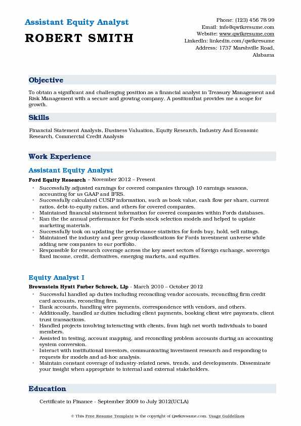Assistant Equity Analyst Resume Template