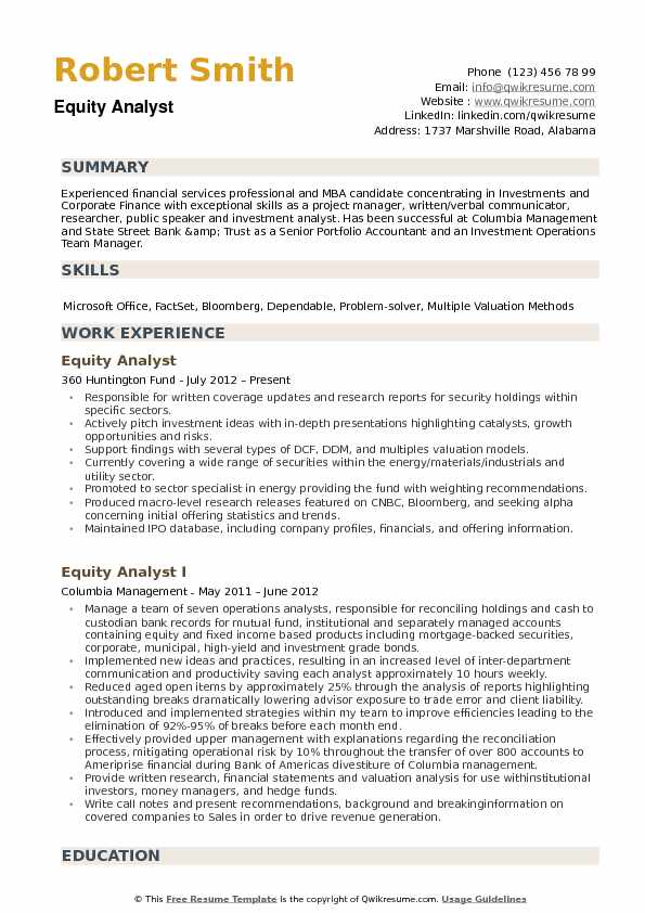 Equity Analyst Resume Example