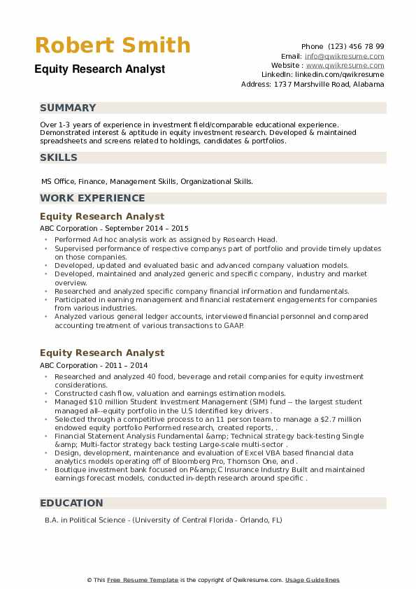 Equity Research Analyst Resume example