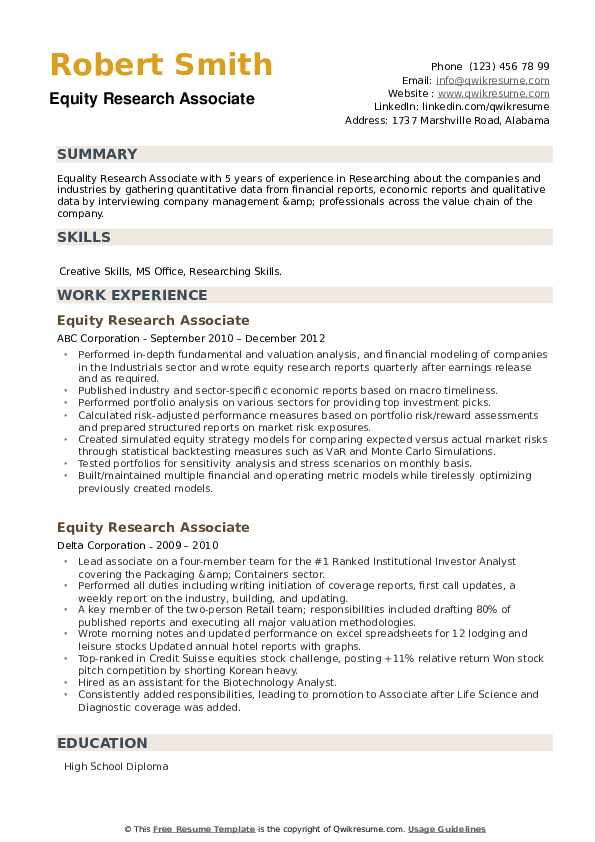 Equity Research Associate Resume example