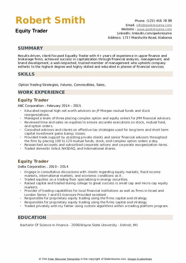 Equity Trader Resume example