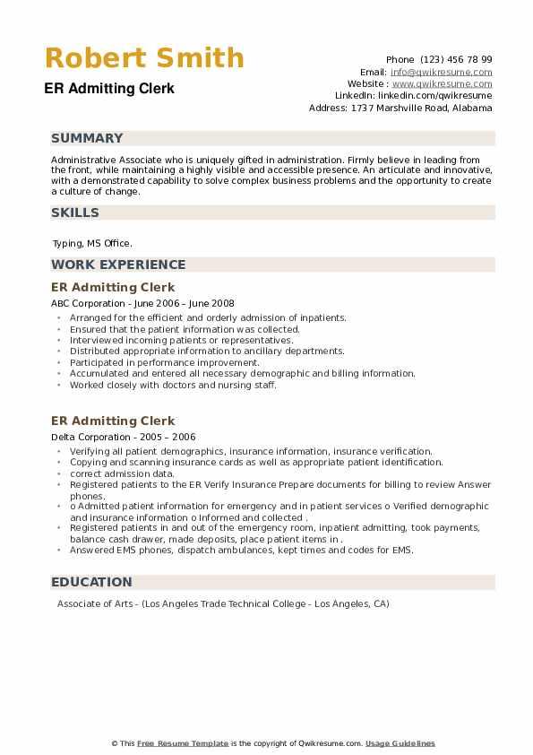 ER Admitting Clerk Resume example