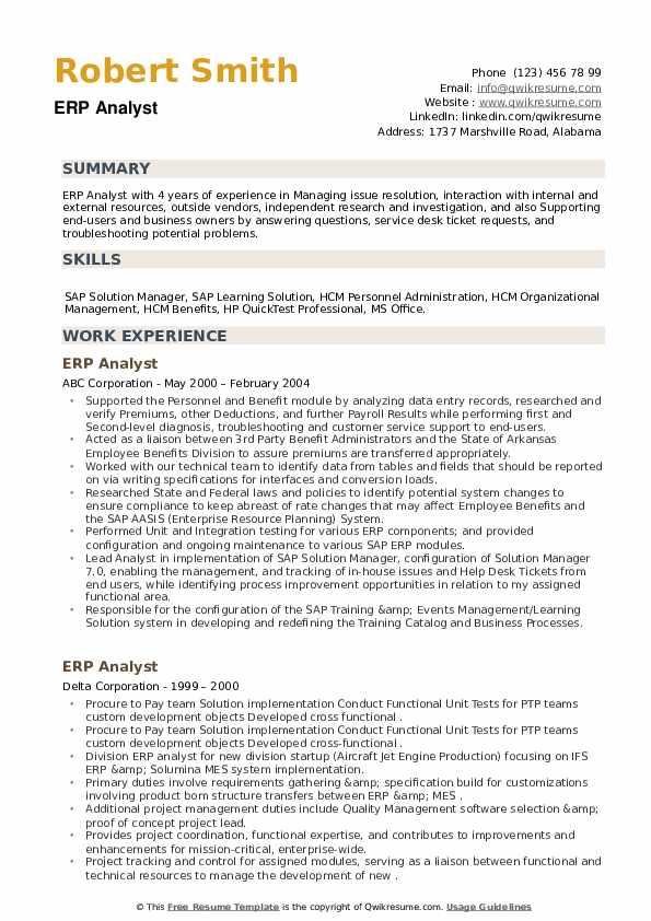 ERP Analyst Resume example