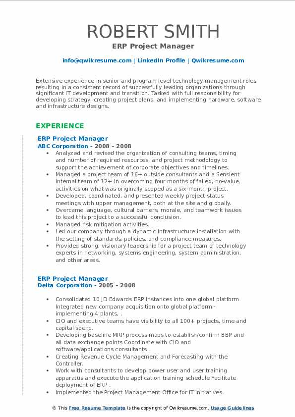 erp project manager resume samples  qwikresume