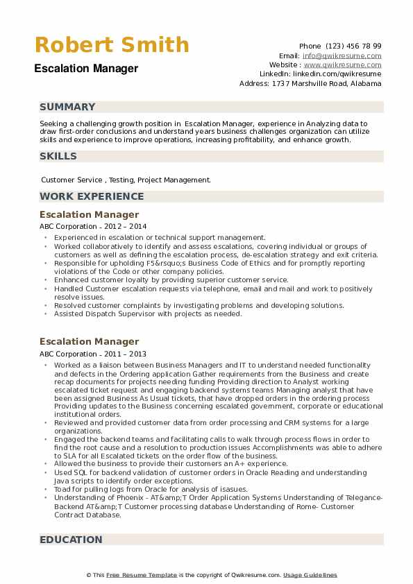 Escalation Manager Resume example