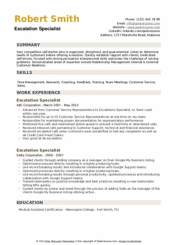 Escalation Specialist Resume example
