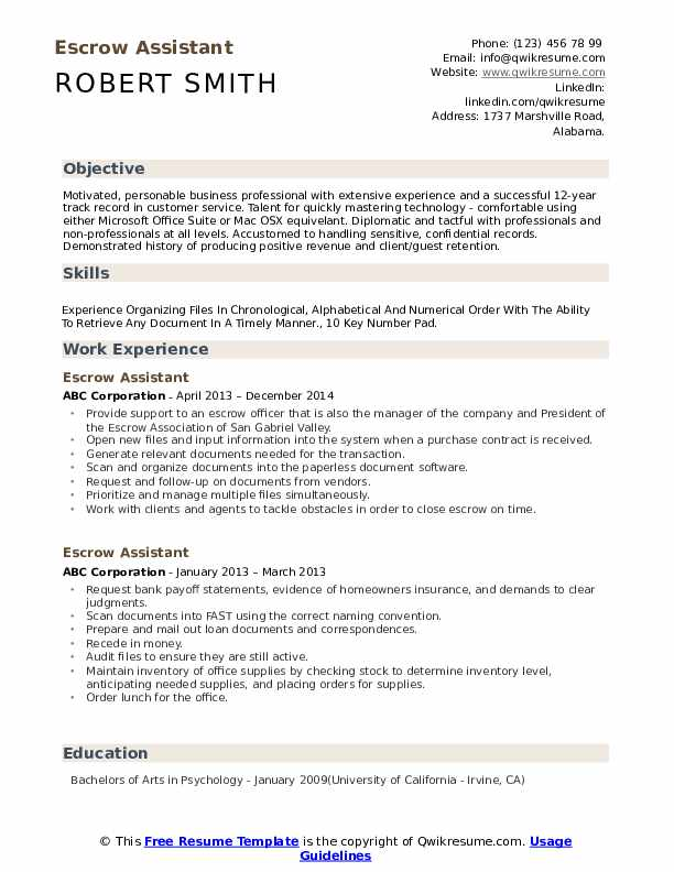 Escrow Assistant Resume Template