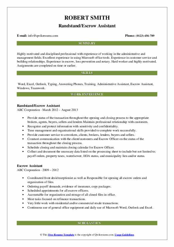 Randstand/Escrow Assistant Resume Sample