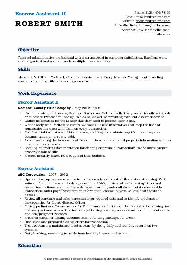 Escrow Assistant II Resume Model