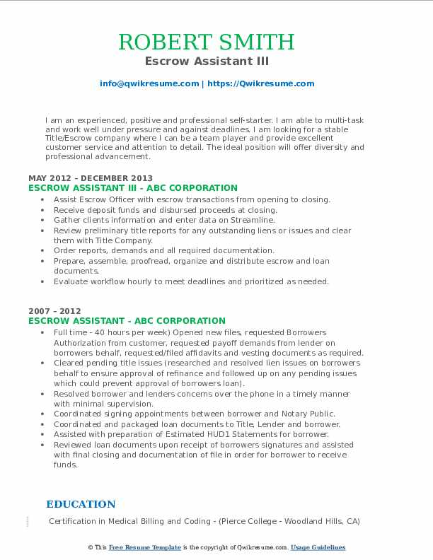 Escrow Assistant III Resume Model