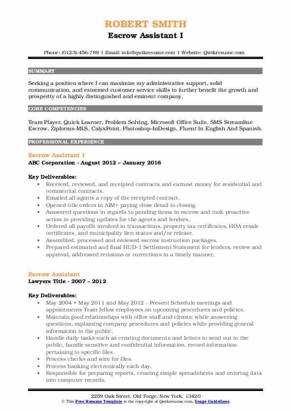 Escrow Assistant I Resume Format