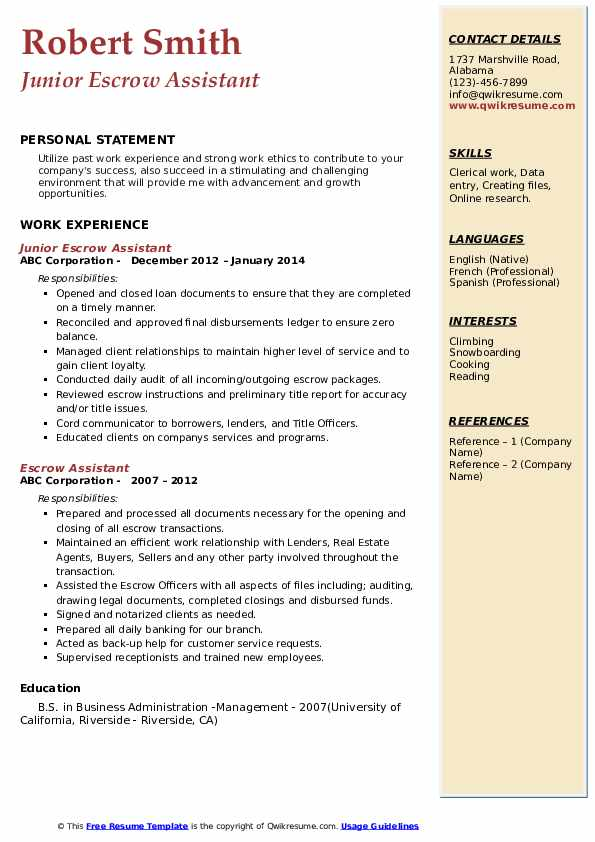 Junior Escrow Assistant Resume Format