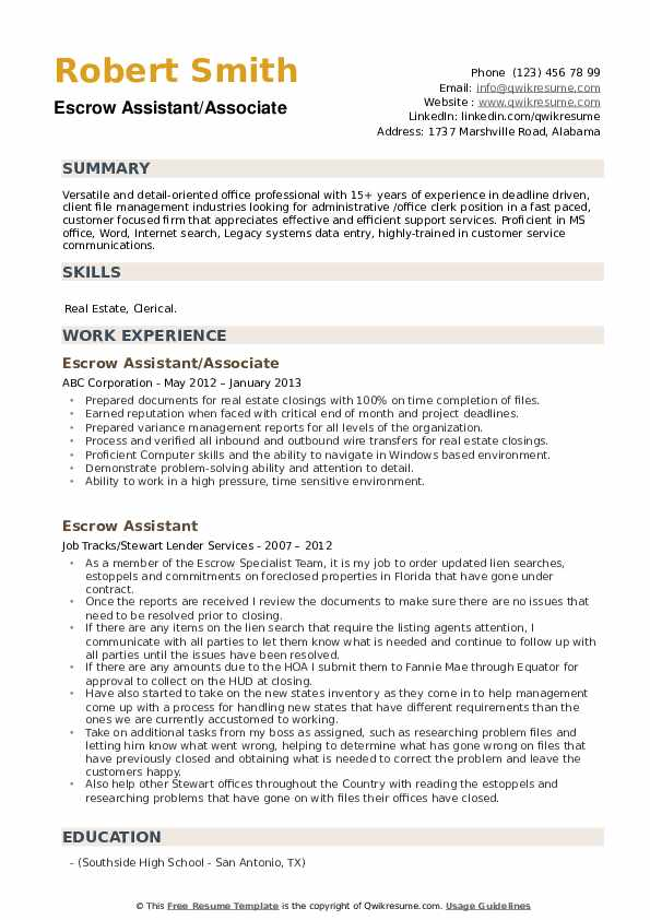 Escrow Assistant/Associate Resume Example