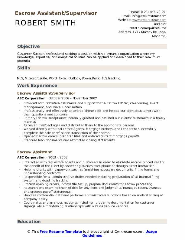Escrow Assistant/Supervisor Resume Template
