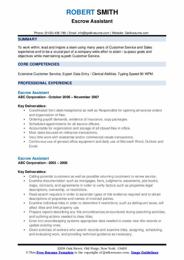 Escrow Assistant Resume example
