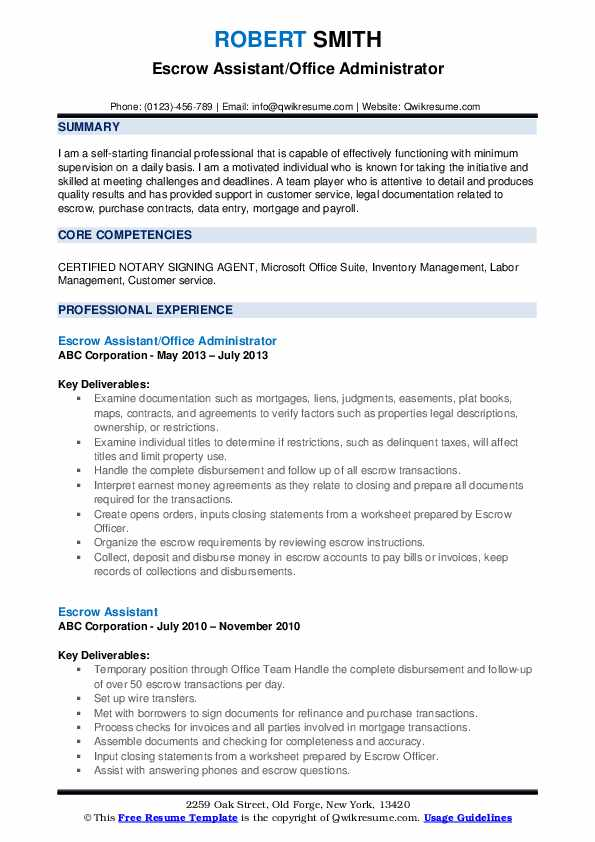 Payroll Assistant/Administrative Assistant Resume Format
