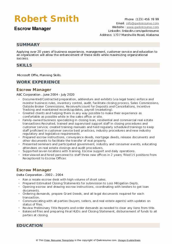 Escrow Manager Resume example