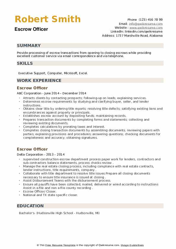 Escrow Officer Resume example