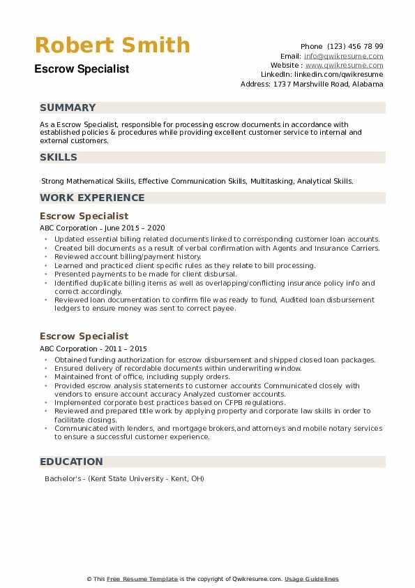 Escrow Specialist Resume example