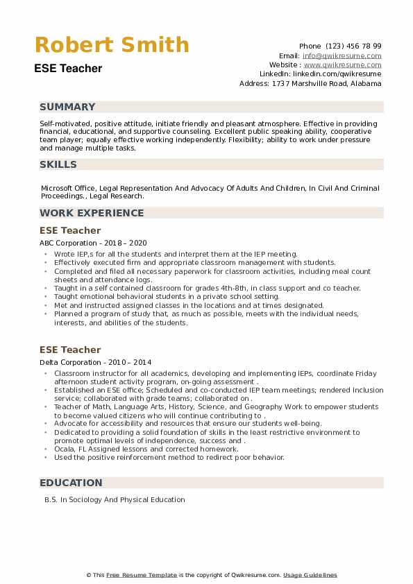 ESE Teacher Resume example