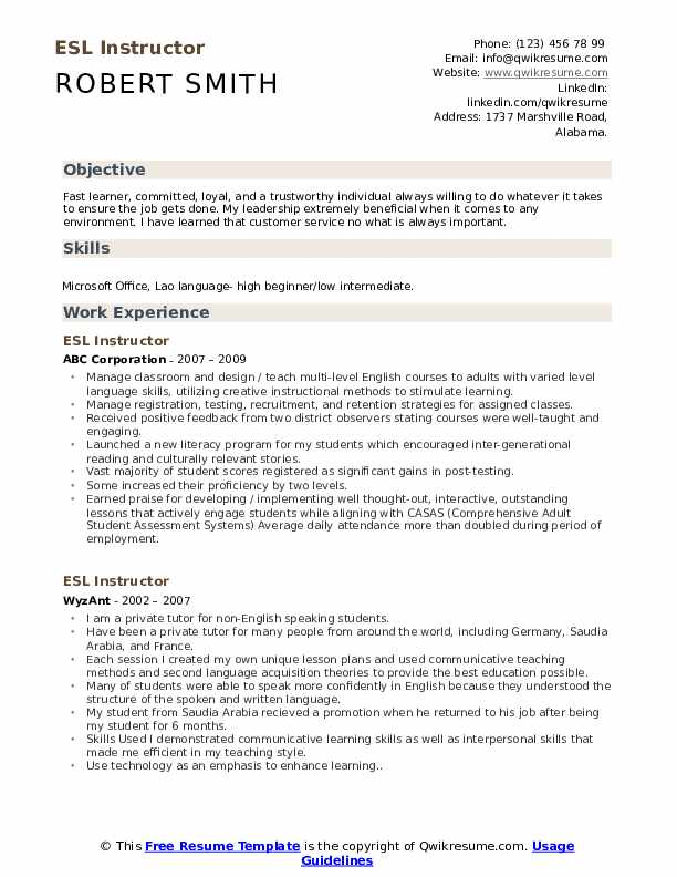 ESL Instructor Resume Model