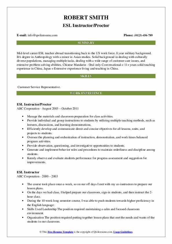 ESL Instructor/Proctor Resume Model