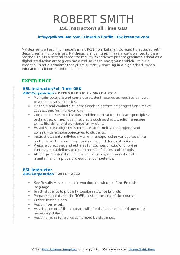 ESL Instructor/Full Time GED Resume Sample