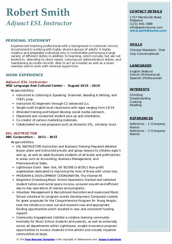 Adjunct ESL Instructor Resume Example